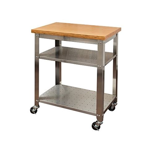 Seville Classics Kitchen Utility Cart With Bamboo Top by Seville Classics Stainless Steel Kitchen Cart With Bamboo