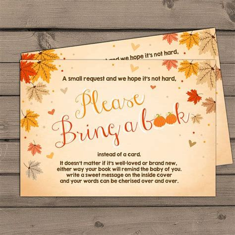 Fall Themed Baby Shower Invitation Wording by Autumn Baby Shower Bring A Book Fall By Anietillustr On