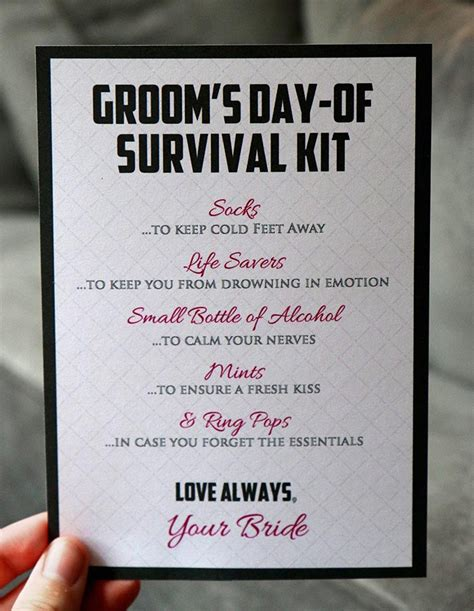of the groom survival kit diy groom survival kit instant 5 by 7