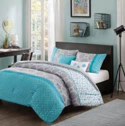 Walmart Comforters Full Size Girls Teen Aqua Blue Gray White Hexagon Geometric