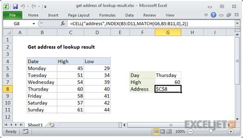 excel formula get address of lookup result exceljet