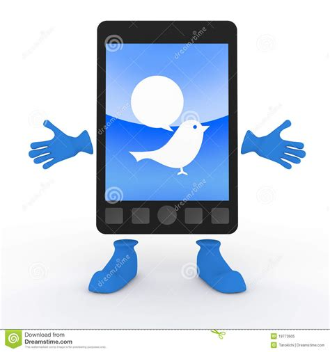 tweet mobile tweet mobile phone smartphone stock illustration