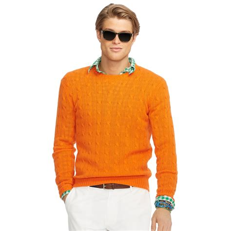polo knit sweater polo ralph cable knit sweater in orange