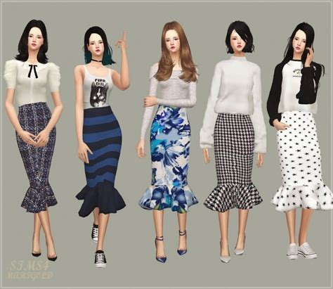 Midi Hanbok Skirt mermaid line midi skirt v1 pattern at marigold 187 sims 4