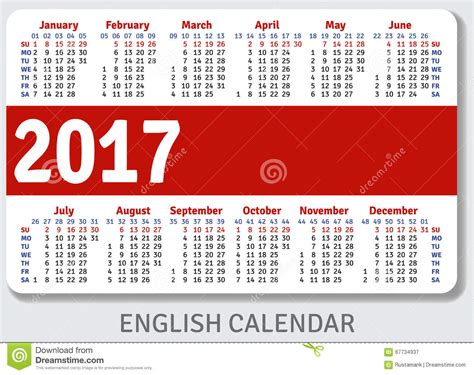 printable calendar english english pocket calendar for 2017 stock vector image