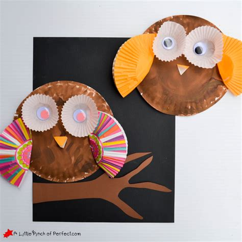 Paper Plate Owl Craft - paper plate and cupcake liner owl craft for
