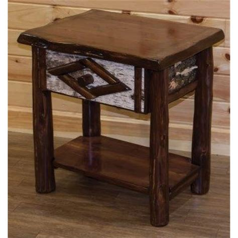 rustic live edge cedar log 1 drawer side table