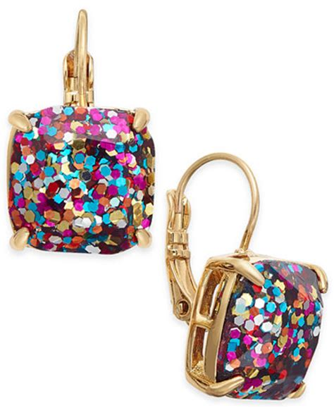 kate spade new york gold tone glitter drop earrings
