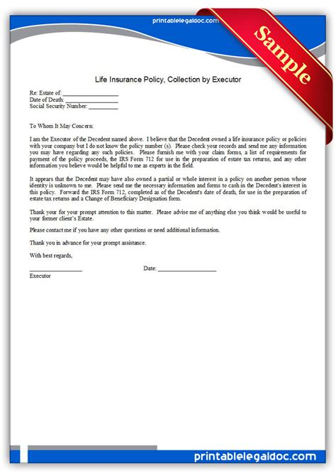free printable life insurance policy collection by