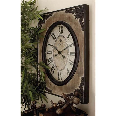 rustic clock 30 in x 22 in traditional rustic wood and iron wall