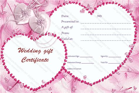 bridal shower gift card template cupid s pink gift certificate template