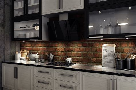 kitchen with brick backsplash brick backsplash interior design ideas