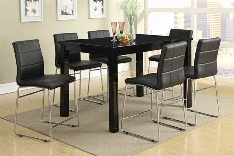 7pc modern high gloss black counter height dining table set