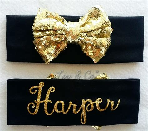 jersey sequin baby headband gold from personalized black and gold baby and toddler sequin bow