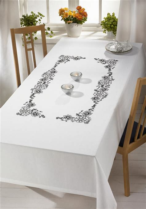 monochrome floral large tablecloth embroidery permin 58