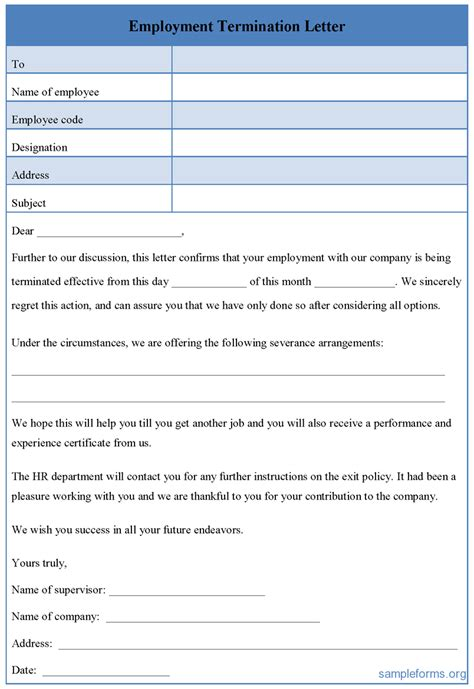 Employment Termination Letter Form Sle Forms Termination Form Template