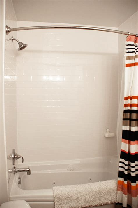 Black And Pink Bathroom Ideas bathroom makeover with a faux subway tile surround