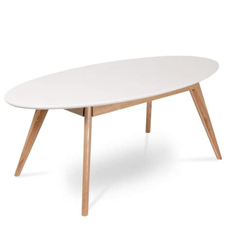 Table basse ovale blanche