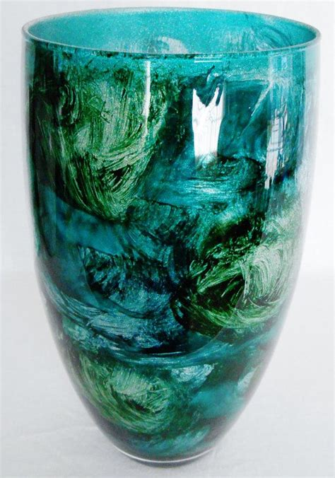 Teal Decorative Vase Vintage Multi Shades Of Teal With Silver Sparkle Glass