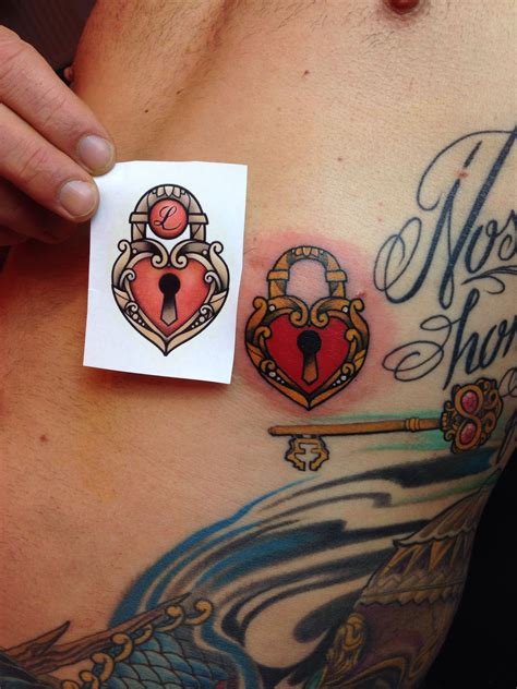 heart shaped lock tattoo designs small color neotraditional shaped