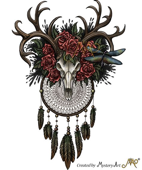 dreamcatcher skull with colors by sunima on deviantart