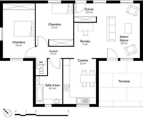 plan maison toit plat 3283 plan maison de plain pied toit plat ooreka