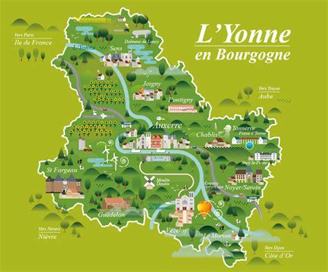 road layout en français yonne tourism map burgundy carte yonne tourisme on behance