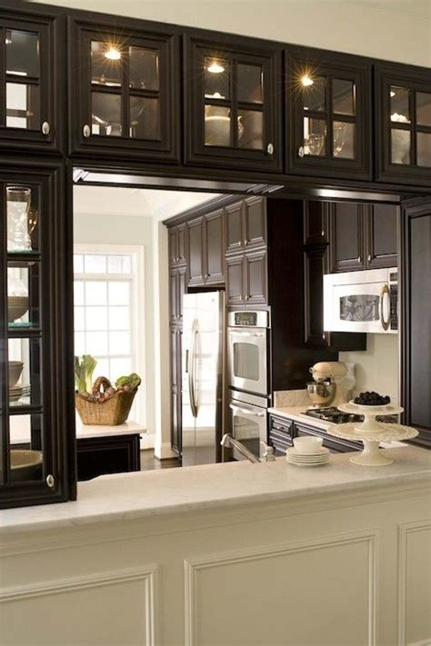 Dining Room To Kitchen Pass Through Kitchen With Espresso See Through Glass Cabinets