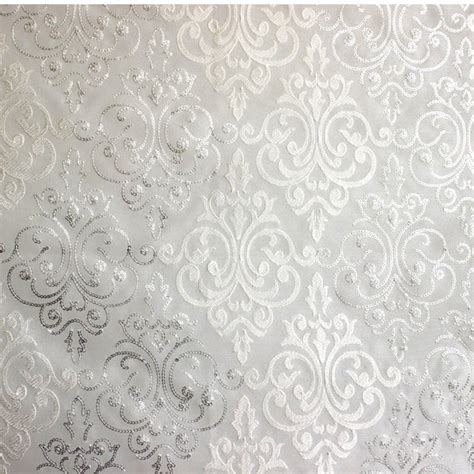 white damask curtains white silver damask embroidered sheer curtain fabric by the