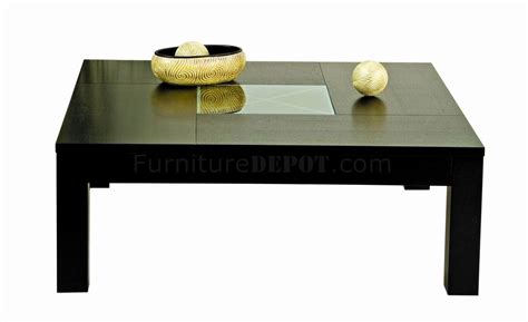 Center Coffee Table Wenge Finish Modern Coffee Table W Clear Glass Center