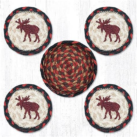 braided rug coasters moose braided coaster set by capitol earth rugs the patch