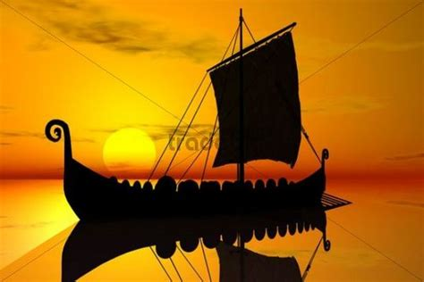viking longboat graphic viking ship sunset silhouette 3d graphics download