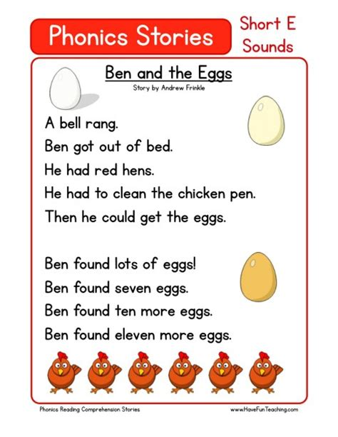 printable alphabet stories reading comprehension worksheet ben and the eggs