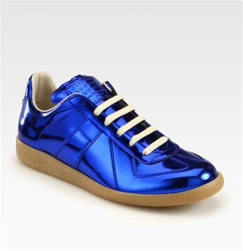 blue margiela sneakers maison margiela replica metallic laceup sneakers in blue