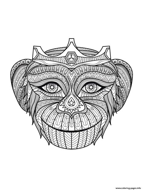monkey head coloring page adult monkey head coloring pages printable