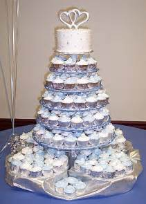 This beautiful wedding shower cake is made up of 210 cupcakes baked in