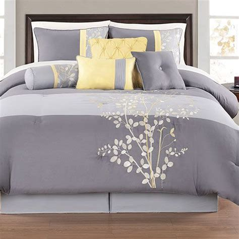 grey bedding sets yellow and gray bedding sets charlee 12 piece comforter