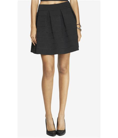 express high waist elastic skirt black in black
