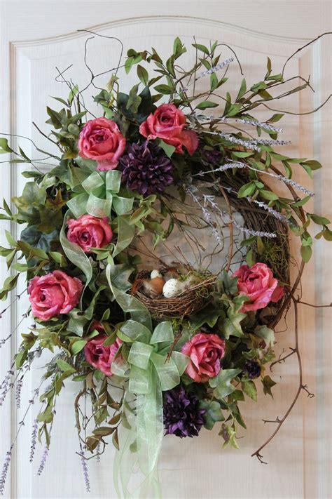 Summer Wreath For Front Door Items Similar To Front Door Wreath Country Wreath Summer Wreath Fall Wreath Bird Nest Wreath