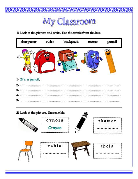 Classroom Worksheets by My Classroom