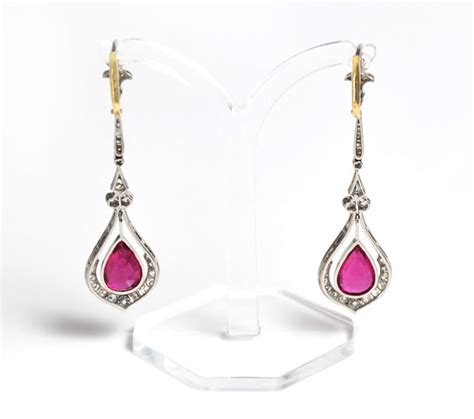 Ruby 4 7ct 10 7ct ruby and earrings platinum antikschmuck
