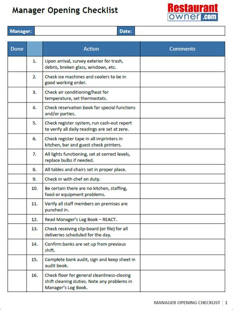 managers opening checklist