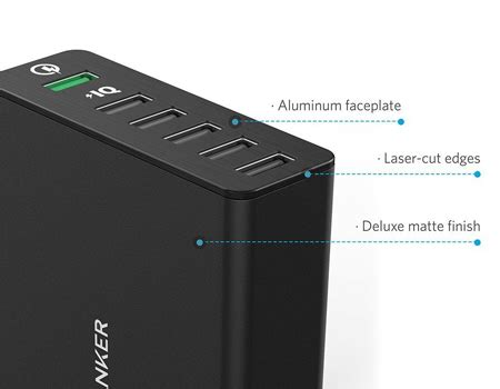 Original Anker A2054611 Powerport 5 60w Charge 3 0 5 Usb Black anker 60w 12a 6 port usb charger powerport black price review and buy in dubai abu dhabi