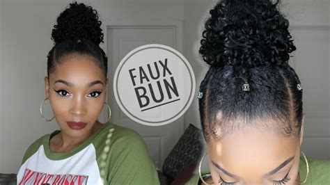 why my twa straight infront curly faux top knot bun on short natural hair youtube