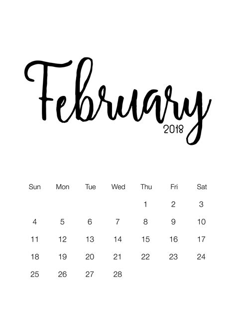 printable  minimalistic design calendar