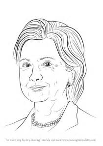 learn how to draw hillary clinton politicians step by