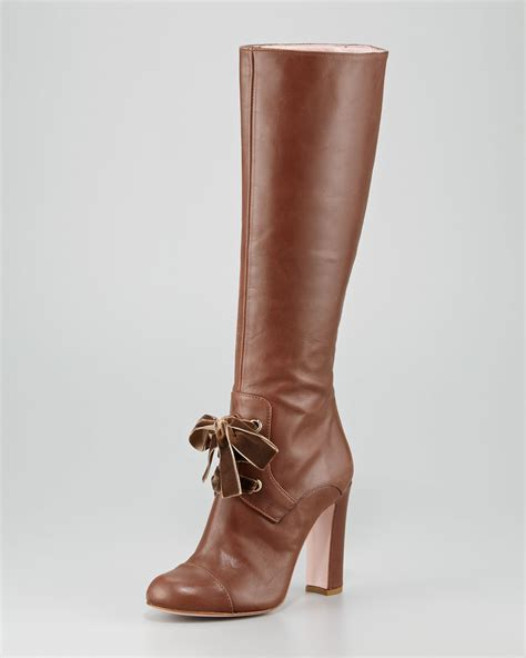 boot shoes lyst valentino lacefront leather knee boot in brown