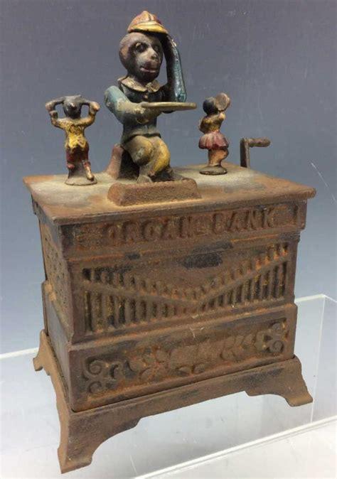 organ bank antique cast iron monkey organ bank