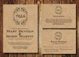 digital wedding invitations templates rustic wedding invitation template set kraft paper wreath