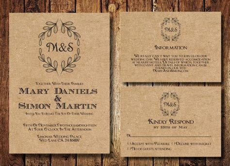 Casual Wedding Invitation Paper by Rustic Wedding Invitation Template Set Kraft Paper Wreath